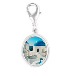 blue domes in the village of Oi Silver Oval Charm
