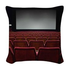 Empty movie theatre Woven Throw Pillow