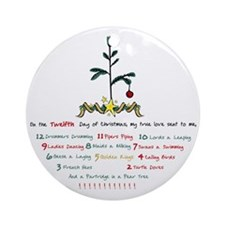 12 Days of Christmas Round Ornament