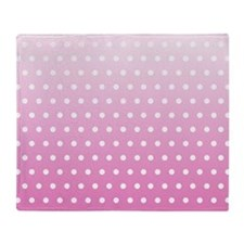 Pink White Polka Dot Throw Blanket