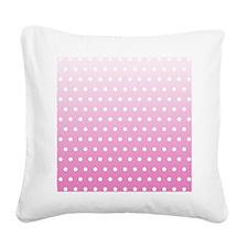 Pink White Polka Dot Square Canvas Pillow