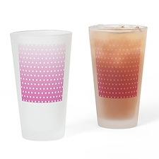 Pink White Polka Dot Drinking Glass
