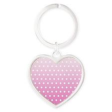 Pink White Polka Dot Heart Keychain