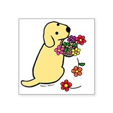 "Yellow Lab Puppy Flower Bas Square Sticker 3"" x 3"""