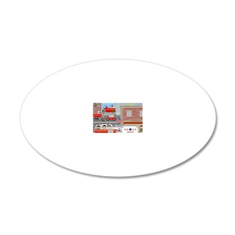 NYFD ACTION SCENE 20x12 Oval Wall Decal