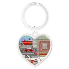 NYFD ACTION SCENE Heart Keychain