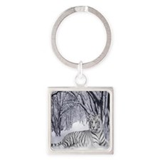 White Tiger Square Keychain