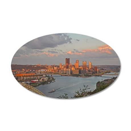 Pittsburgh Sunset 35x21 Oval Wall Decal