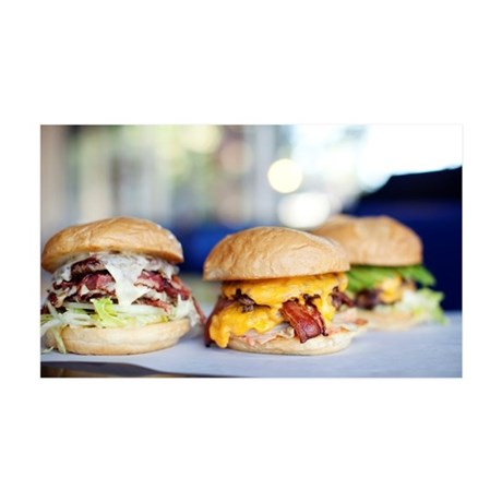 Various indulgent cheeseburgers i 35x21 Wall Decal