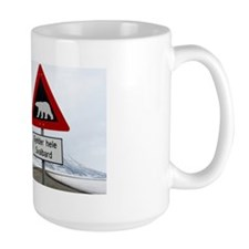 Polar bear sign in Longyearbyen, Svalba Mug