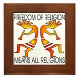 Freedom Means ALL Religions Framed Tile