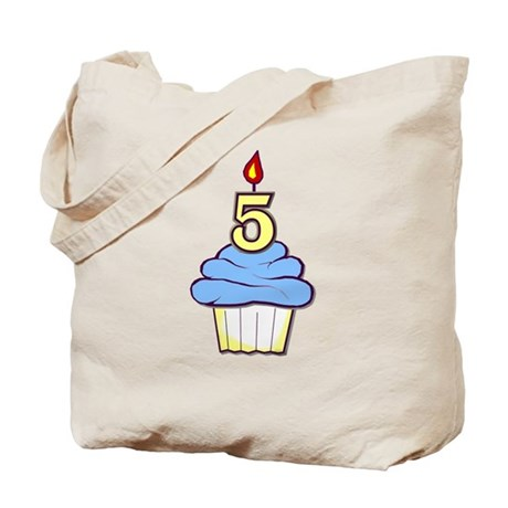 Boy Cupcake 5th Birthday Tote Bag