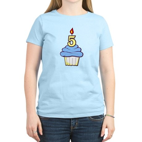 Boy Cupcake 5th Birthday Women's Light T-Shirt
