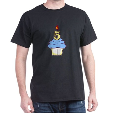 Boy Cupcake 5th Birthday Dark T-Shirt