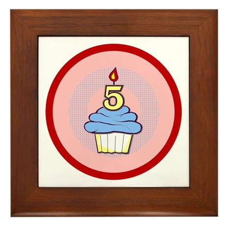 Boy Cupcake 5th Birthday Framed Tile