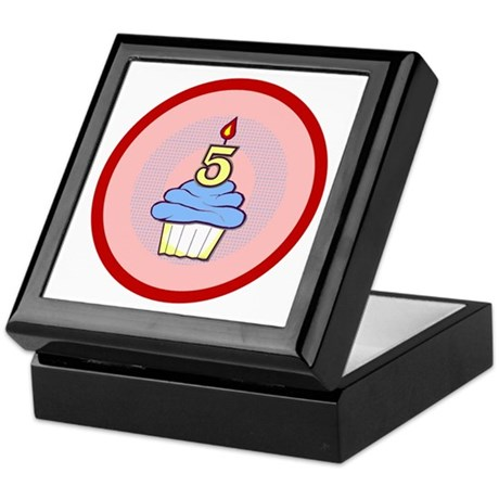 Boy Cupcake 5th Birthday Keepsake Box
