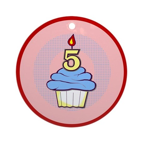 Boy Cupcake 5th Birthday Ornament (Round)