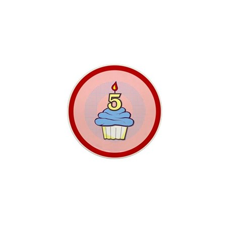 Boy Cupcake 5th Birthday Mini Button (100 pack)