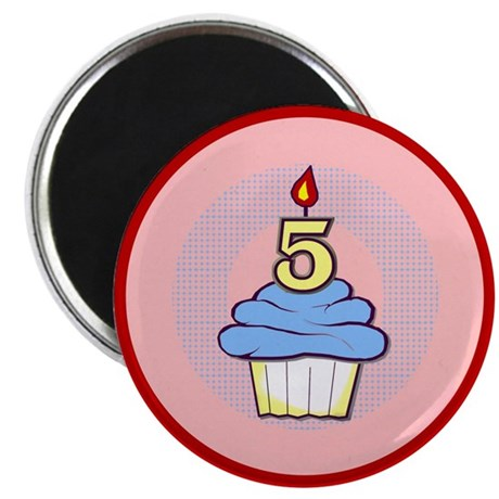 Boy Cupcake 5th Birthday Magnet