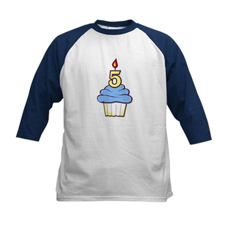 Boy Cupcake 5th Birthday Kids Baseball Jersey