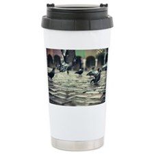 Pigeons in flight and standing  Ceramic Travel Mug