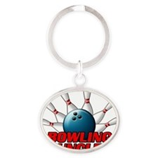 Bowling Uncle (pins) Oval Keychain