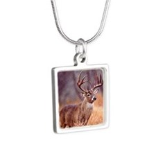 Wildlife Deer Buck Silver Square Necklace