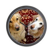 Two loyal Golden Retrievers sit on orna Wall Clock