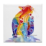 LOVE CAT Bright Colors Tile Coaster