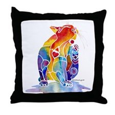 LOVE CAT Bright Colors Throw Pillow