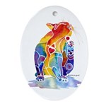LOVE CAT Bright Colors Ornament (Oval)