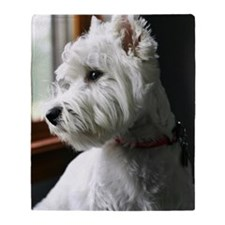 White Westie looking out the window Throw Blanket
