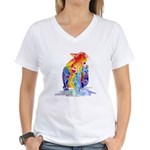 LOVE CAT Bright Colors Women's V-Neck T-Shirt