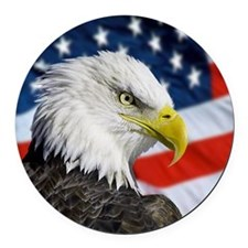 Alaska bald eagle against flag, U Round Car Magnet