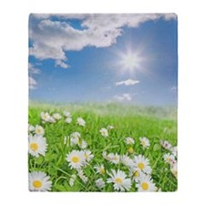 Summer daisies in a meadow Throw Blanket