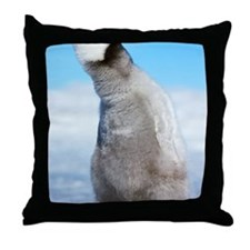 Aptenodytes forsteri chick. Antarctic Throw Pillow