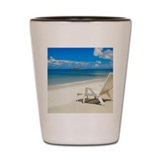 Empty lounge chair on the beach, South  Shot Glass