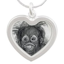 Orangutan Silver Heart Necklace