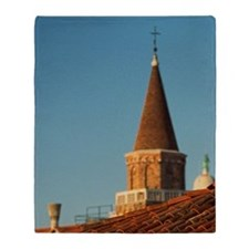 Tile roof and church steeple, Venice Throw Blanket