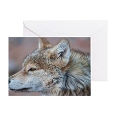 Profile of Wolf Greeting Card