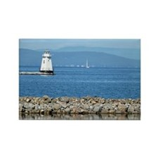 View of Lake Champlain with boat, Rectangle Magnet