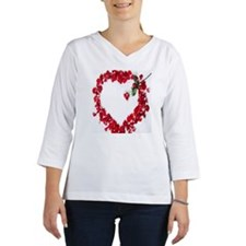 Rose petals arranged in heart s Women's Long Sleeve Shirt (3/4 Sleeve)