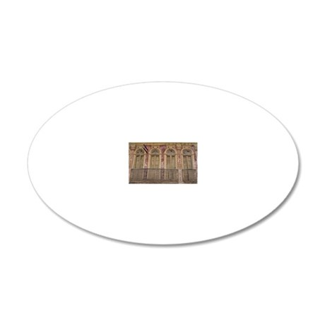 old glass doors and windows  20x12 Oval Wall Decal