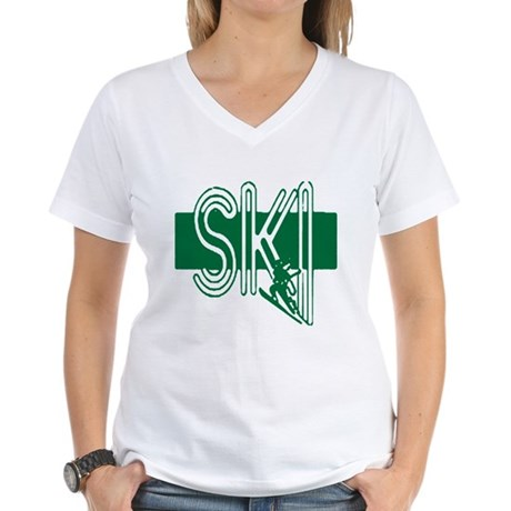 Ski Green Women's V-Neck T-Shirt