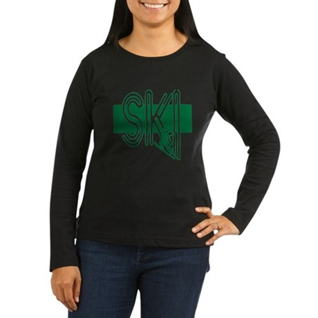Ski Green Women's Long Sleeve Dark T-Shirt