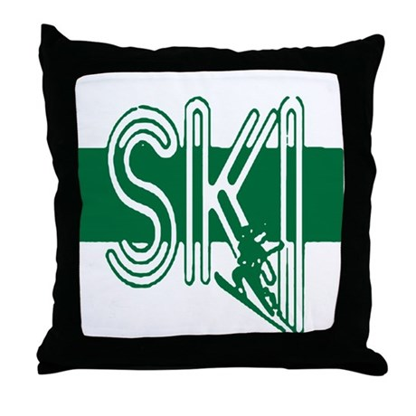 Ski Green Throw Pillow