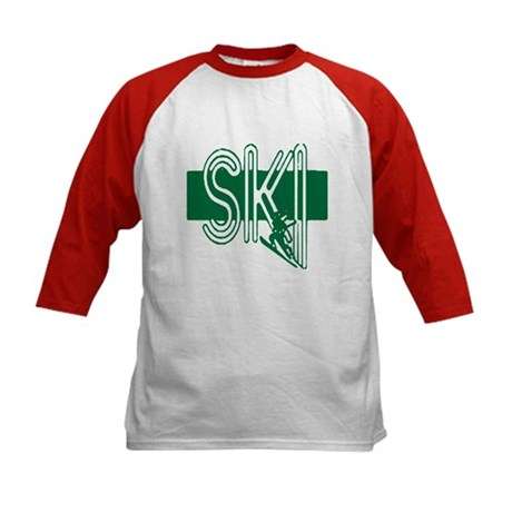 Ski Green Kids Baseball Jersey
