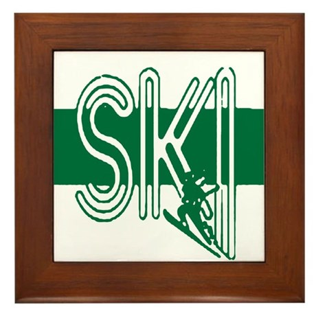 Ski Green Framed Tile