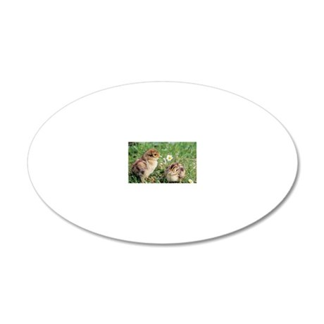 Pheasant chicks 20x12 Oval Wall Decal