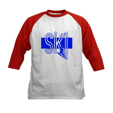 Ski Blue Kids Baseball Jersey